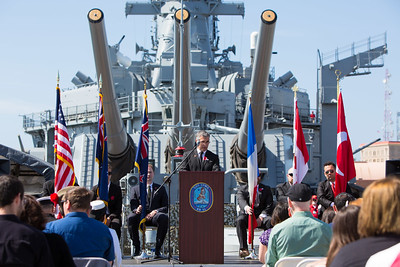 New Zealand Consul-General Leon Grice gives an address at the 2016 Los Angeles ANZAC Day service on board the USS Iowa