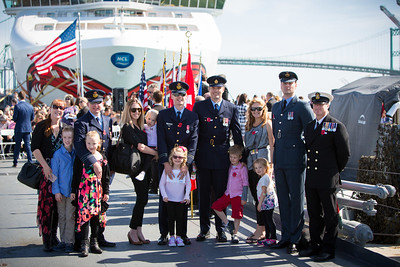 Attendees at the 2016 Los Angeles ANZAC Day service on board the USS Iowa