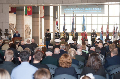 Veterans Affairs Minister Craig Foss addresses the attendees at the Anzac Day service in Seoul. (Photo: Na JooAhn)