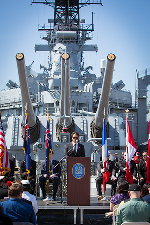 MC Martin Henderson speaking at the 2016 Los Angeles ANZAC Day service on board the USS Iowa